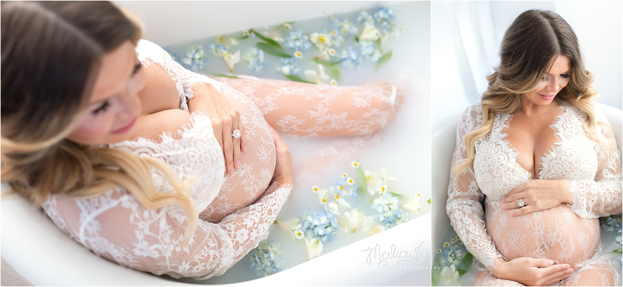 Floral Maternity Milk Bath Photography Malia B Photography